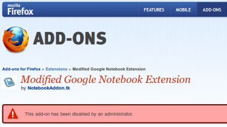 Google Notes Add-on for Firefox